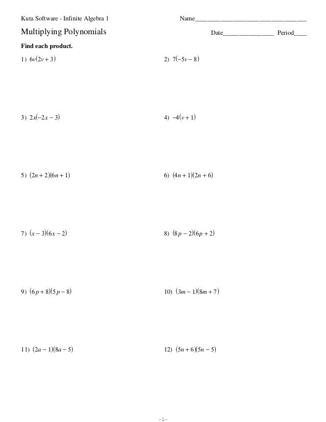 Algebra Worksheet Multiplication