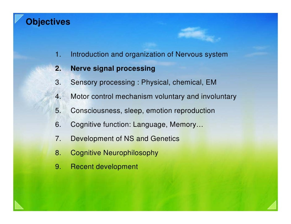 Objectives         1.     Introduction and organization of Nervous system       2.     Nerve signal processing       3.   ...