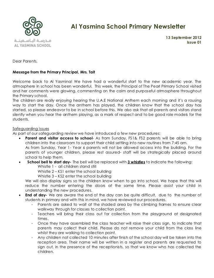 Al Yasmina School Primary Newsletter                                                                                    13...