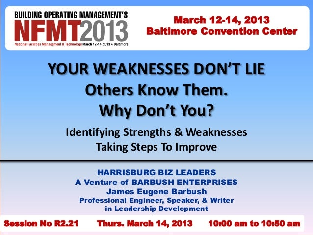 YOUR WEAKNESSES DON'T LIE Others Know Them. Why Don't You? Identifying Strengths & Weaknesses Taking Steps To Improve HARR...