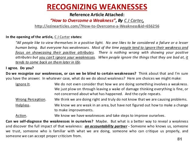 what are examples of weaknesses