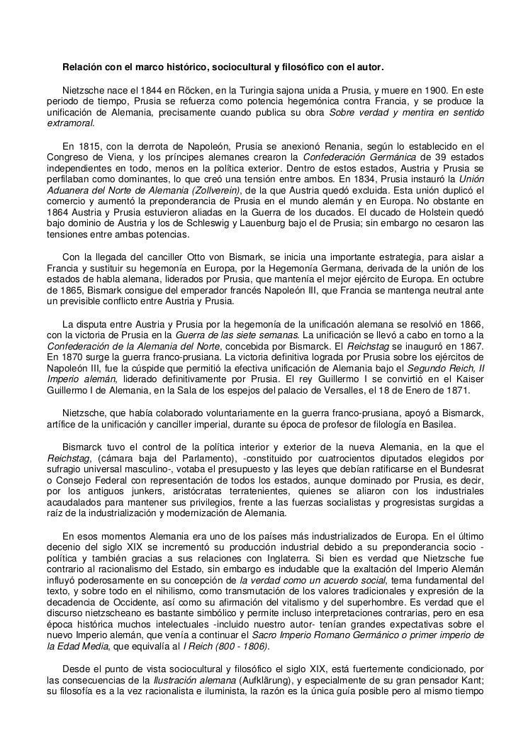 Relación con el marco histórico, sociocultural y filosófico con el autor.    Nietzsche nace el 1844 en Röcken, en la Turin...