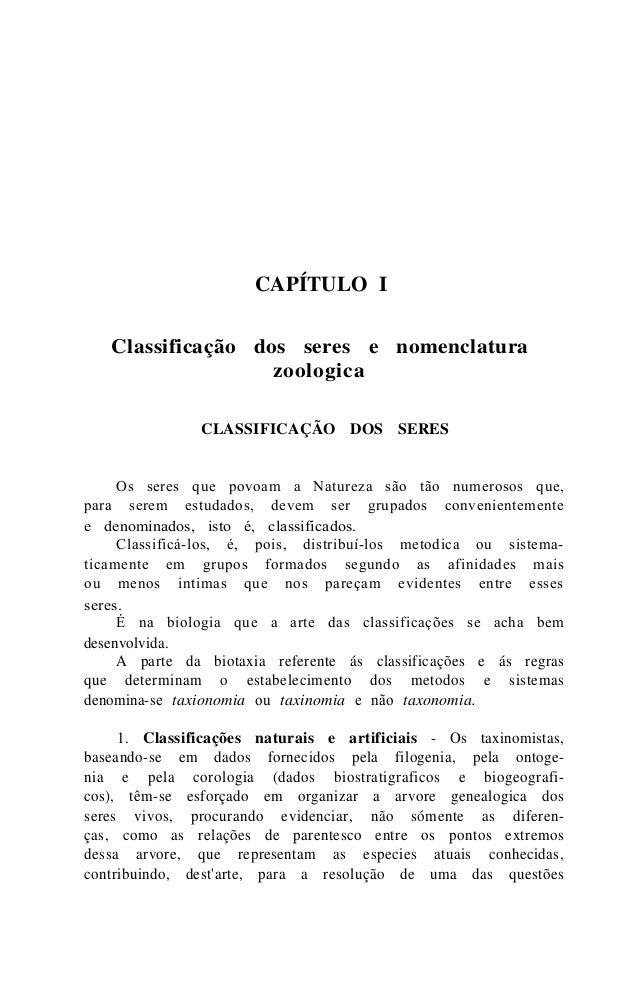 CAPÍTULO I  Classificação dos seres e nomenclatura  zoologica  CLASSIFICAÇÃO DOS SERES  Os seres que povoam a Natureza são...