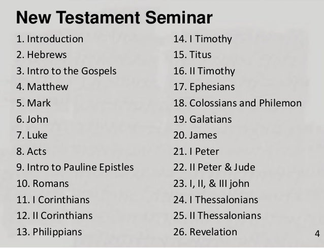 Session 01 New Testament Overview - Introduction and Summary
