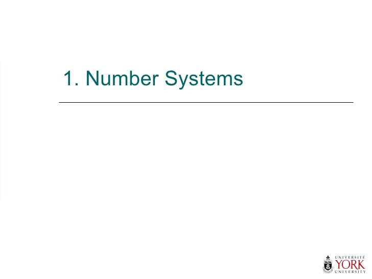 1. Number Systems