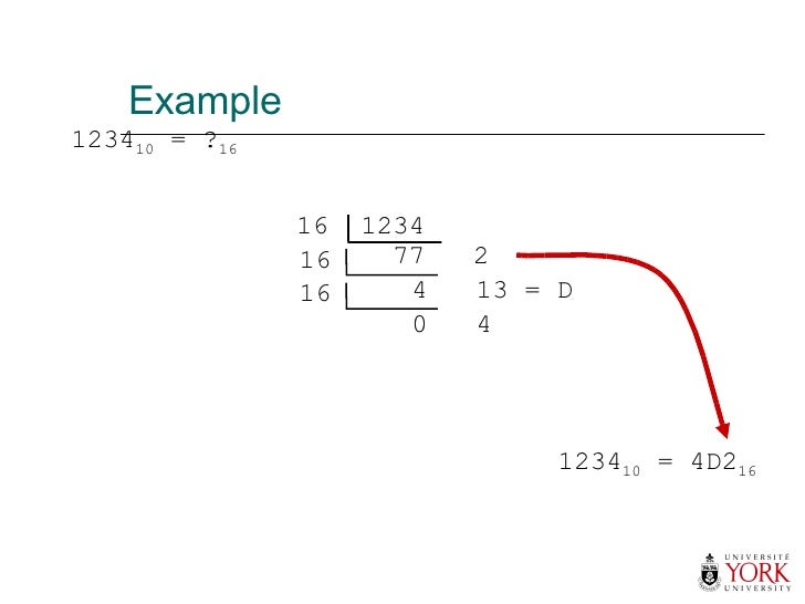 Example 1234 10  = ? 16 1234 10  = 4D2 16 16  1234 77  2 16 4  13 = D 16 0  4