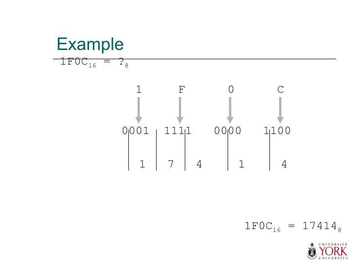Example 1F0C 16  = ? 8 1F0C 16  = 17414 8 1  F  0  C 0001  1111  0000  1100 1  7  4  1  4