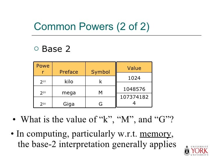 "Common Powers (2 of 2) <ul><li>Base 2 </li></ul><ul><li>What is the value of ""k"", ""M"", and ""G""? </li></ul><ul><li>In compu..."