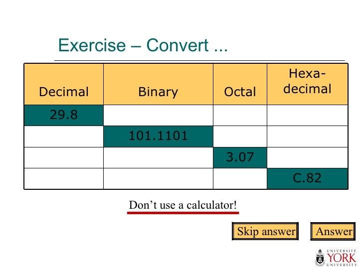 Exercise – Convert ... Skip answer Answer Don't use a calculator! C.82 3.07 101.1101 29.8 Hexa- decimal Octal Binary Decimal