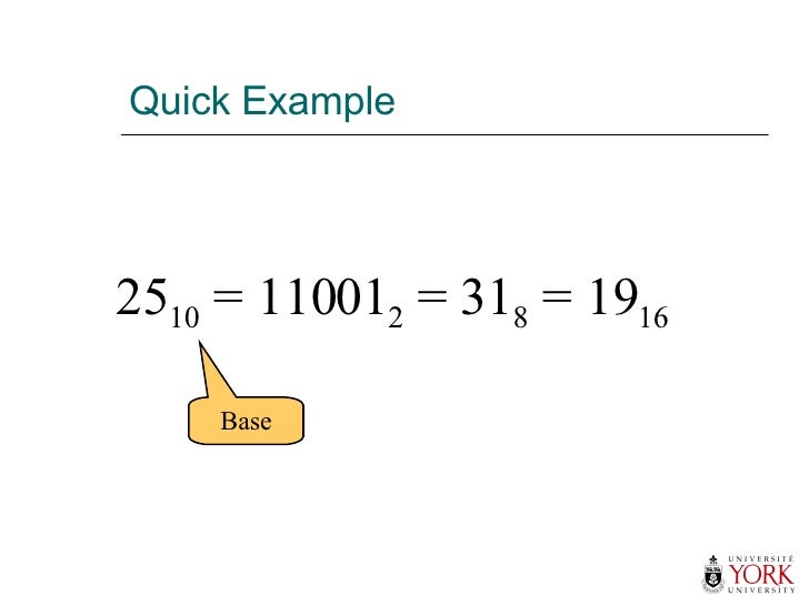 Quick Example 25 10  = 11001 2  = 31 8  = 19 16 Base