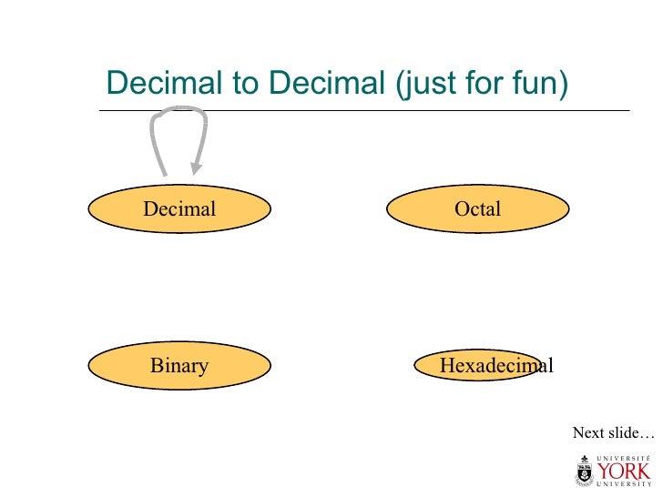 Decimal to Decimal (just for fun) Hexadecimal Decimal Octal Binary Next slide…