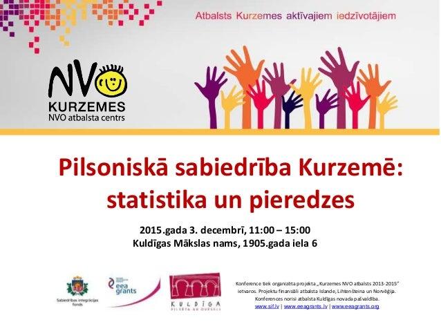 Pilsoniskā sabiedrība Kurzemē: statistika un pieredzes 2015.gada 3. decembrī, 11:00 – 15:00 Kuldīgas Mākslas nams, 1905.ga...