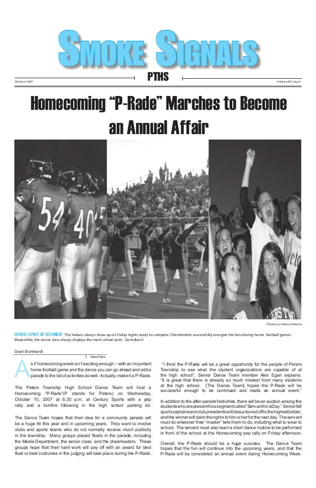 """Smoke Signals PTHS  October 2007  Volume 39, Issue 1  Homecoming """"P-Rade"""" Marches to Become an Annual Affair  Photos by Ju..."""