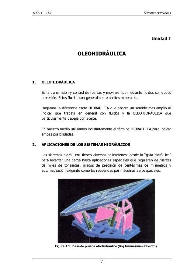 TECSUP – PFR  Sistemas Hidráulicos  Unidad I  OLEOHIDRÁULICA  1.  OLEOHIDRÁULICA Es la transmisión y control de fuerzas y ...