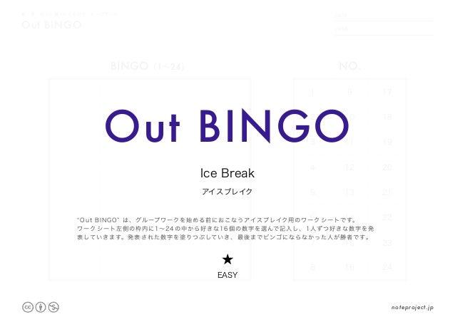 DATE NAME .     . Out BINGO 縦・横・斜めに揃ったら負けの、ビンゴゲーム 1 9 17 2 10 18 3 11 19 4 12 20 5 13 21 6 14 22 7 15 23 8 16 24 BINGO(1~2...
