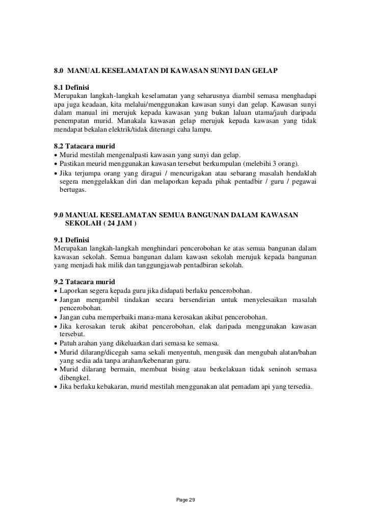 8.0 MANUAL KESELAMATAN DI KAWASAN SUNYI DAN GELAP8.1 DefinisiMerupakan langkah-langkah keselamatan yang seharusnya diambil...