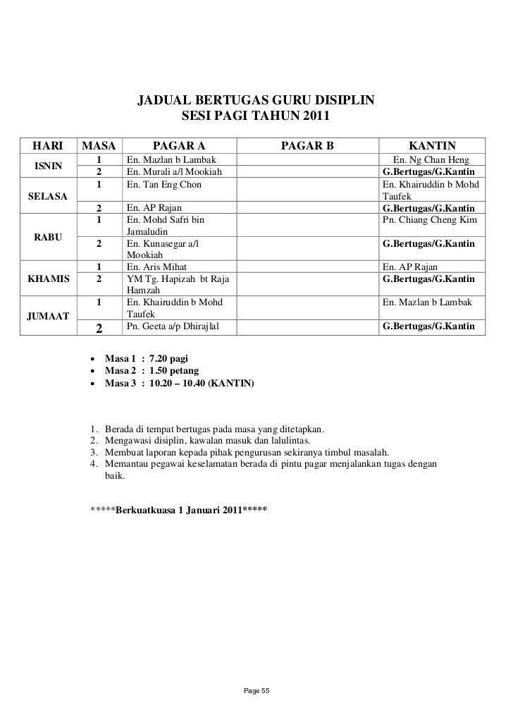 JADUAL BERTUGAS GURU DISIPLIN                          SESI PAGI TAHUN 2011HARI     MASA           PAGAR A                ...