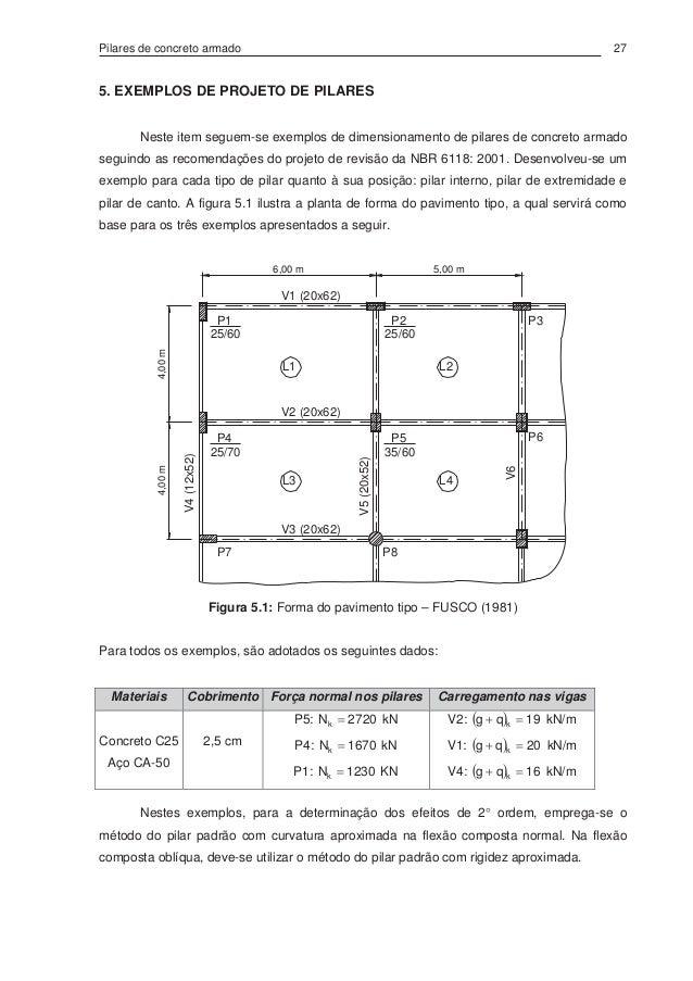 Pilares de concreto armado 27 5. EXEMPLOS DE PROJETO DE PILARES Neste item seguem-se exemplos de dimensionamento de pilare...