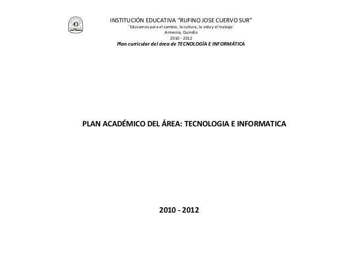 01 plan académico de área en tecnologia e informática   2011