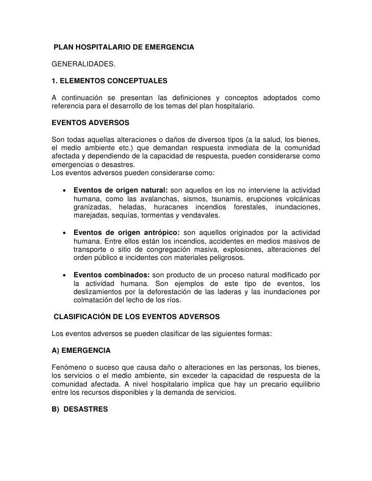 PLAN HOSPITALARIO DE EMERGENCIA  GENERALIDADES.  1. ELEMENTOS CONCEPTUALES  A continuación se presentan las definiciones y...