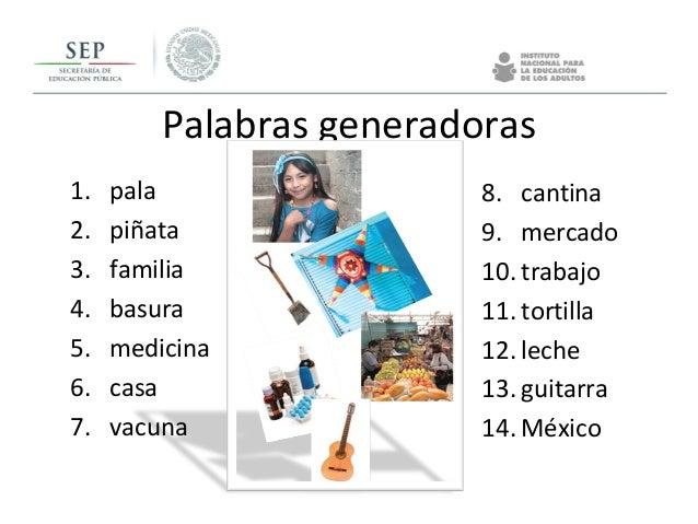 Palabras generadoras 1. pala 2. piñata 3. familia 4. basura 5. medicina 6. casa 7. vacuna 8. cantina 9. mercado 10. trabaj...