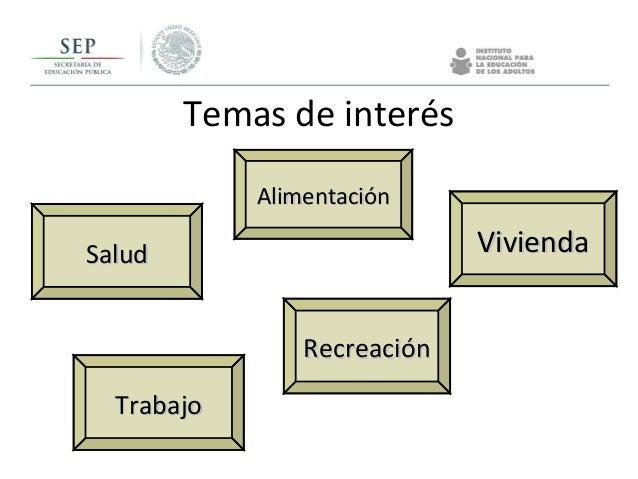 Temas de interés AlimentaciónAlimentación TrabajoTrabajo ViviendaVivienda RecreaciónRecreación SaludSalud