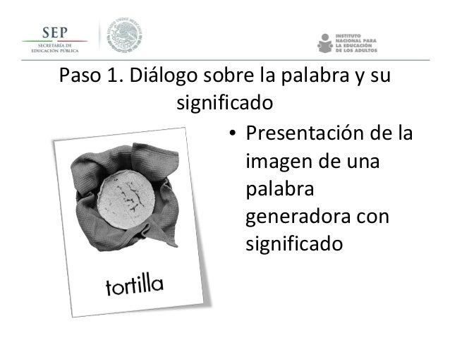 • Presentación de la imagen de una palabra generadora con significado Paso 1. Diálogo sobre la palabra y su significado