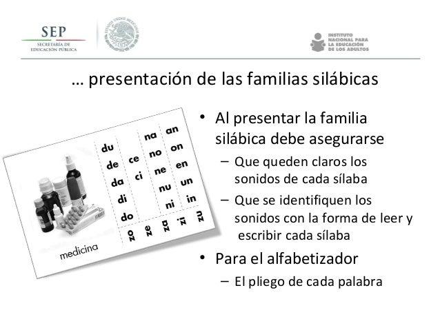 … presentación de las familias silábicas • Al presentar la familia silábica debe asegurarse – Que queden claros los sonido...