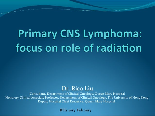 Dr. Rico Liu Consultant, Department of Clinical Oncology, Queen Mary Hospital Honorary Clinical Associate Professor, Depar...