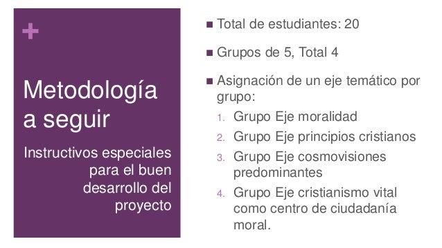 + Metodología a seguir  Total de estudiantes: 20  Grupos de 5, Total 4  Asignación de un eje temático por grupo: 1. Gru...