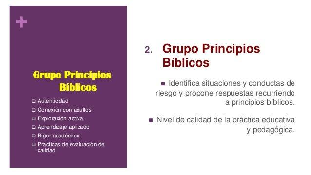 + Grupo Principios Bíblicos 2. Grupo Principios Bíblicos  Identifica situaciones y conductas de riesgo y propone respuest...