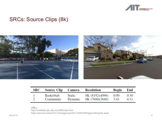 SRCs: Source Clips (8k) 908.06.19 URLs: http://medialab.sjtu.edu.cn/vr8K/index.html https://www.itu.int/en/ITU-T/studygrou...