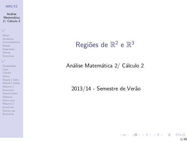 AM2/C2 An´alise Matem´atica 2/ C´alculo 2 R2 Retas Par´abolas Circunferˆencias Elipses Hip´erboles Outras Exerc´ıcios R3 P...