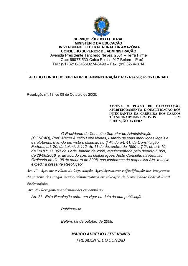 SERVIÇO PÚBLICO FEDERALMINISTÉRIO DA EDUCAÇÃOUNIVERSIDADE FEDERAL RURAL DA AMAZÔNIACONSELHO SUPERIOR DE ADMINISTRAÇÃOAveni...