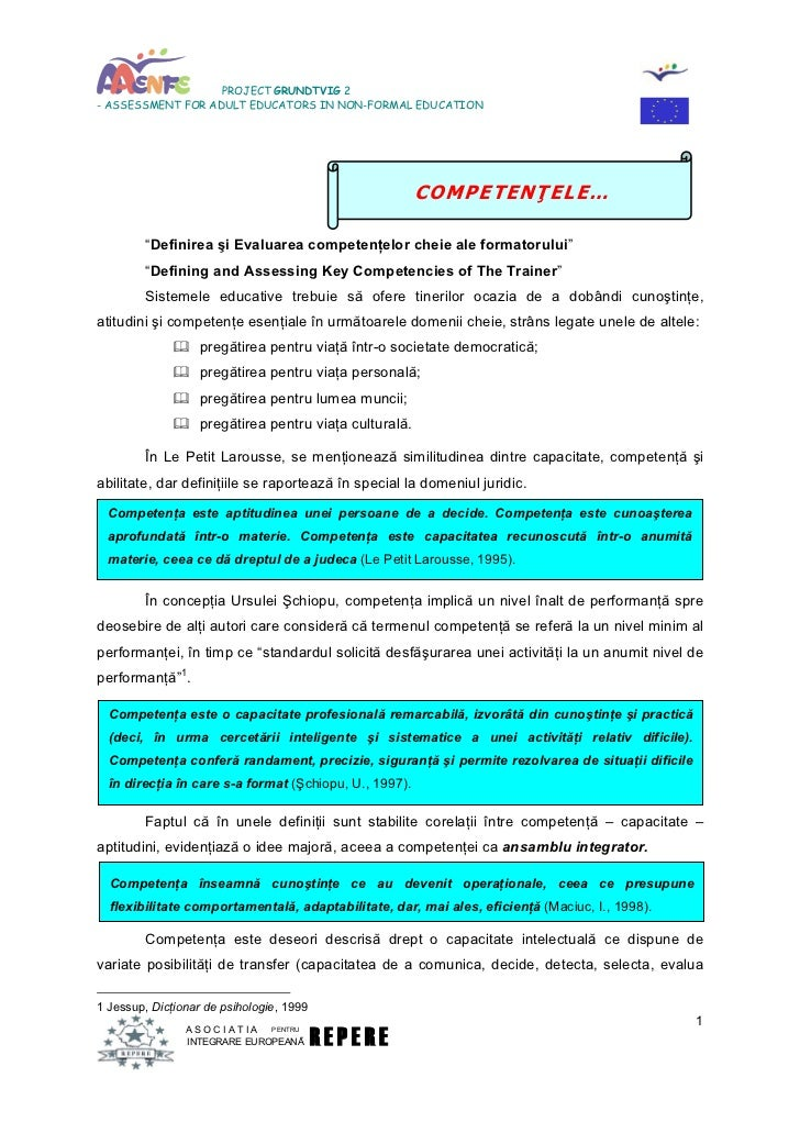 PROJECT GRUNDTVIG 2- ASSESSMENT FOR ADULT EDUCATORS IN NON-FORMAL EDUCATION                                               ...