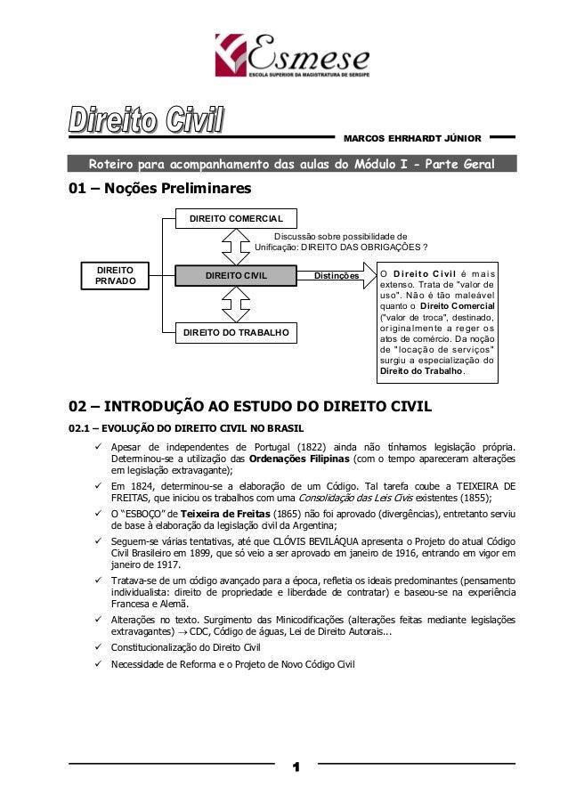 MARCOS EHRHARDT JÚNIOR 1 Roteiro para acompanhamento das aulas do Módulo I - Parte Geral 01 – Noções Preliminares 02 – INT...