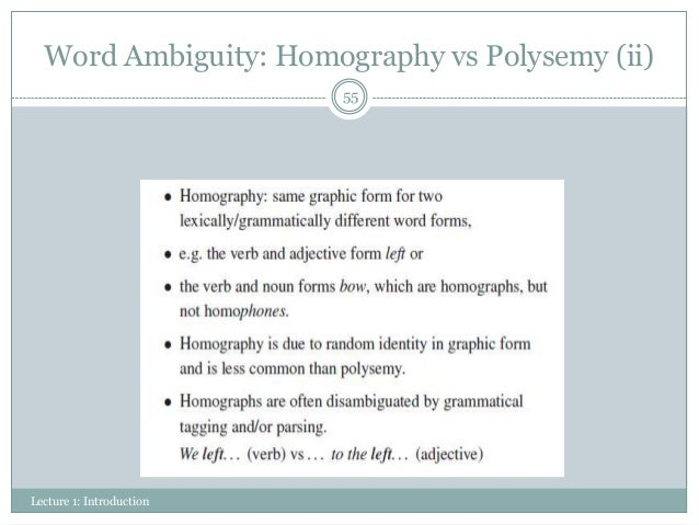 homonymy polysemy and the monolingual english dictionary
