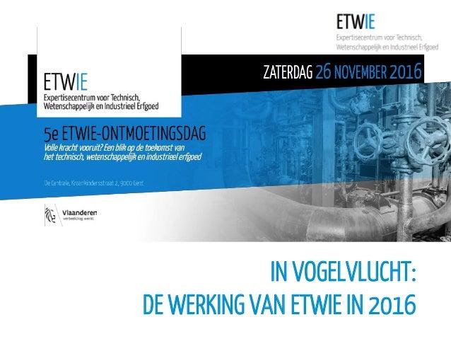 IN VOGELVLUCHT: DE WERKING VAN ETWIE IN 2016