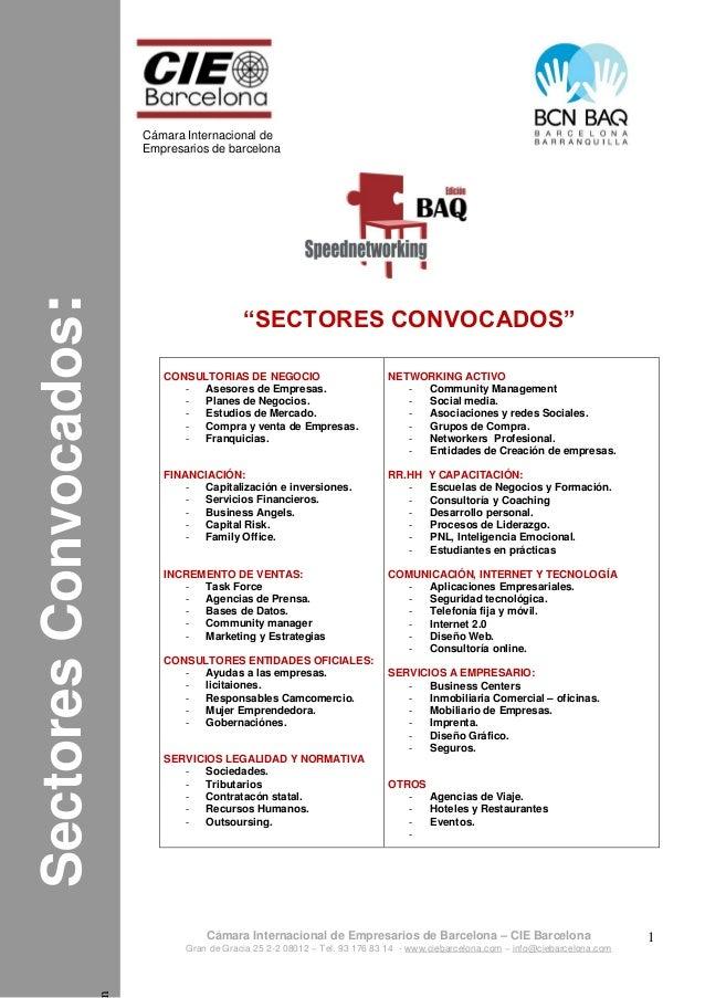 Programa:n SectoresConvocados: Cámara Internacional de Empresarios de barcelona Cámara Internacional de Empresarios de Bar...