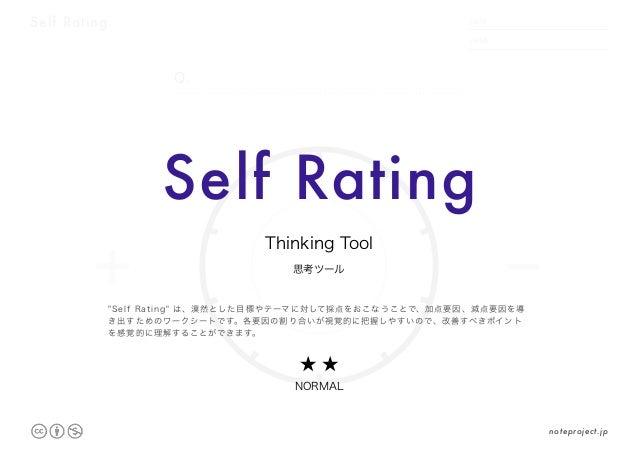 "Self Rating DATE NAME .     . + - /100 Q. Self Rating 思考ツール Thinking Tool ★ ★ NORMAL ""Self Rating"" は、漠然とした目標やテーマに対して採点をおこな..."