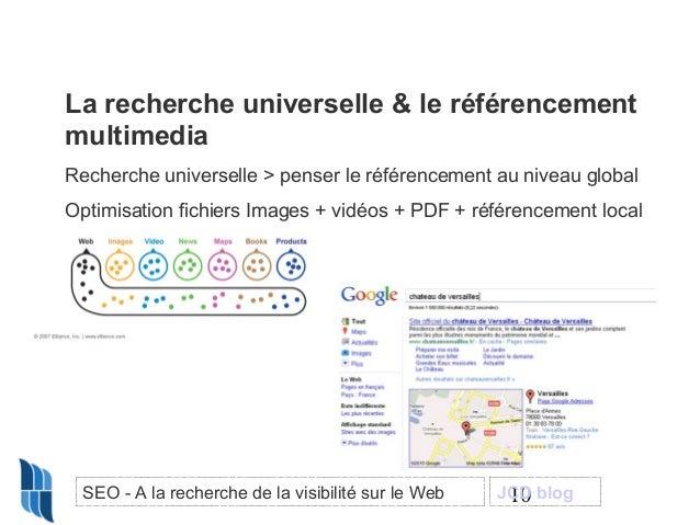 La recherche universelle & le référencement multimedia Recherche universelle > penser le référencement au niveau global Op...