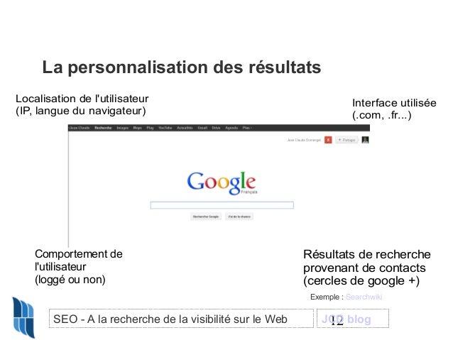La personnalisation des résultats Localisation de l'utilisateur (IP, langue du navigateur)  Comportement de l'utilisateur ...