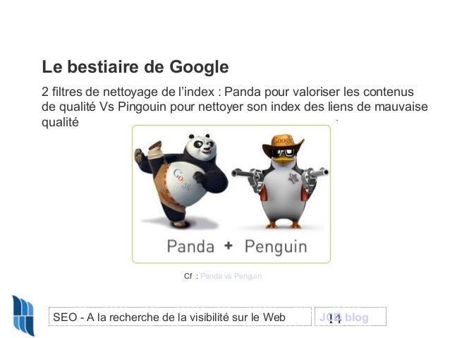 Le bestiaire de Google 2 filtres de nettoyage de l'index : Panda pour valoriser les contenus de qualité Vs Pingouin pour n...