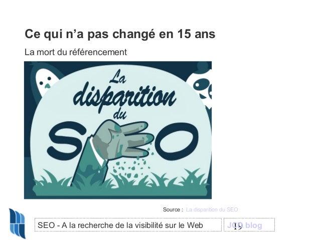 Ce qui n'a pas changé en 15 ans La mort du référencement  Source : La disparition du SEO  SEO - A la recherche de la visib...