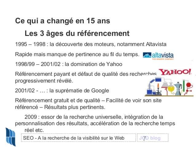 Ce qui a changé en 15 ans Les 3 âges du référencement 1995 – 1998 : la découverte des moteurs, notamment Altavista Rapide ...