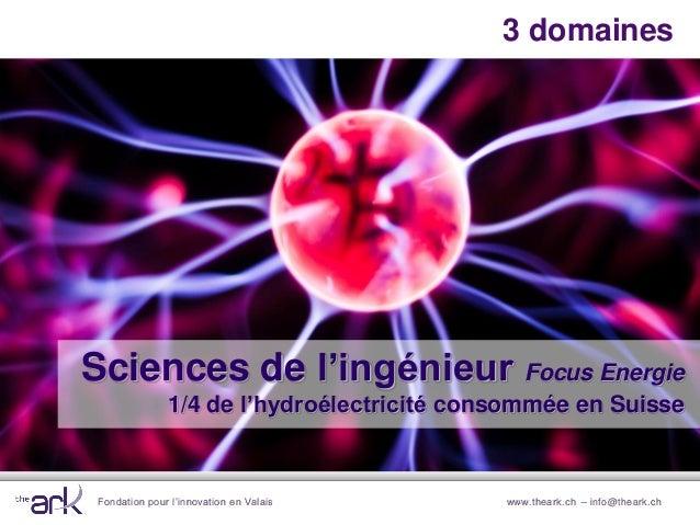 Fondation pour l'innovation en Valais www.theark.ch – info@theark.ch3 domainesSciences de l'ingénieur Focus Energie1/4 de ...