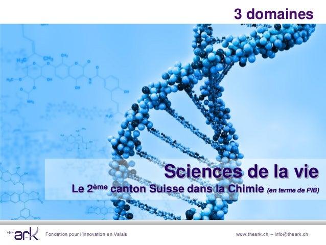 Fondation pour l'innovation en Valais www.theark.ch – info@theark.ch3 domainesSciences de la vieLe 2ème canton Suisse dans...