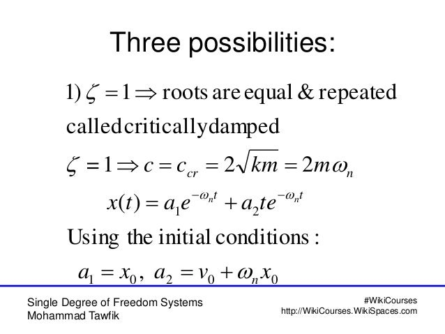 Free Vibration of Single Degree of Freedom Systems