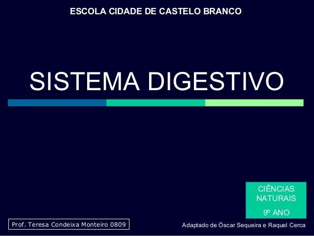 ESCOLA CIDADE DE CASTELO BRANCO  SISTEMA DIGESTIVO  CIÊNCIAS NATURAIS 9º ANO Prof. Teresa Condeixa Monteiro 0809  Adaptado...