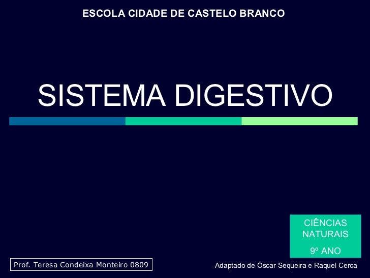 ESCOLA CIDADE DE CASTELO BRANCO CIÊNCIAS NATURAIS 9º ANO Prof. Teresa Condeixa Monteiro 0809 SISTEMA DIGESTIVO Adaptado de...